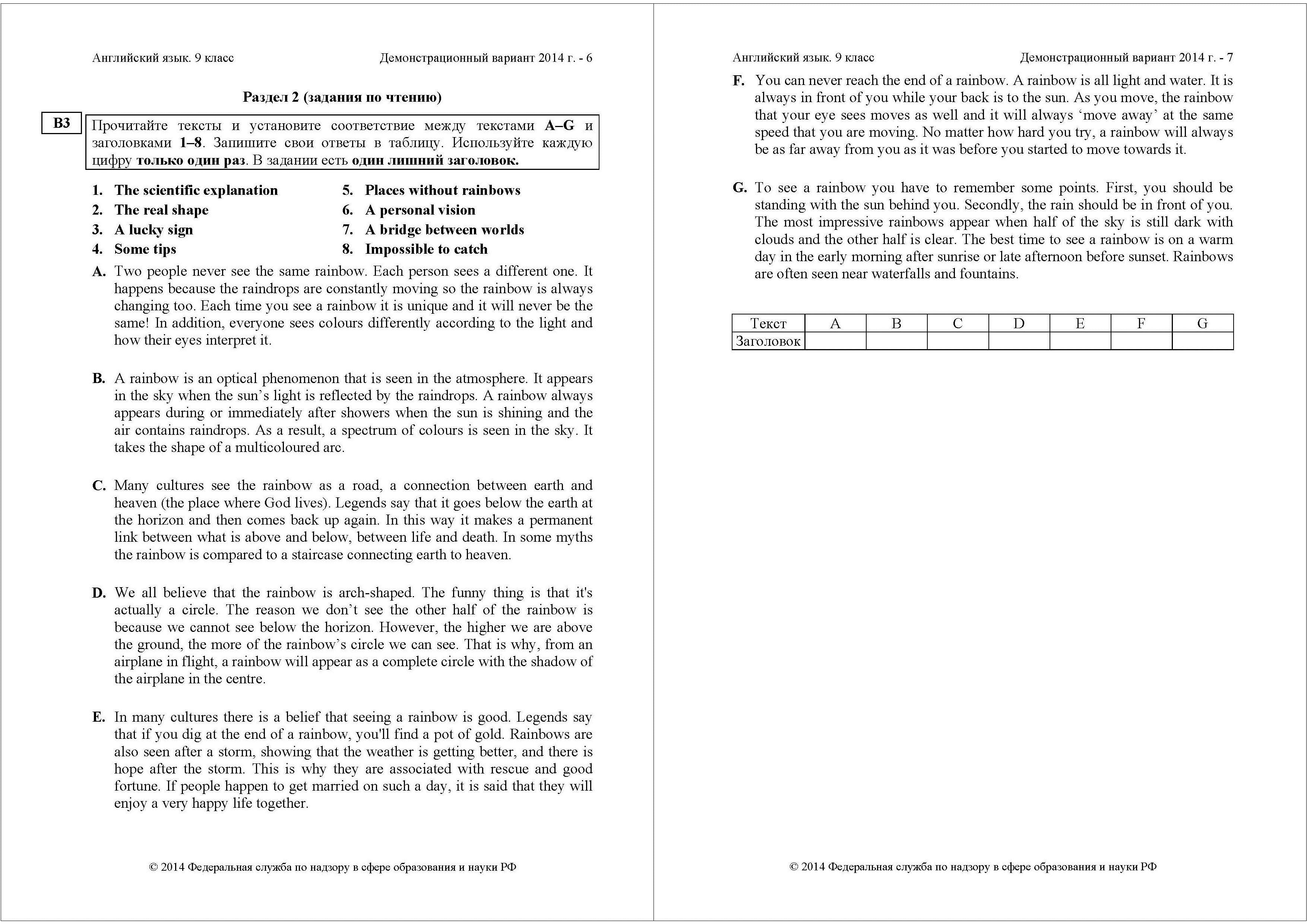 Тексты для чтения с заданиями по английскому языку для 5 класса